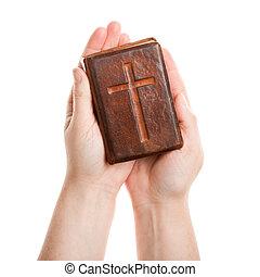 mains, tenue, vieux, bible