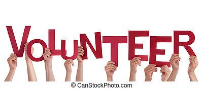 mains, tenue, volontaire