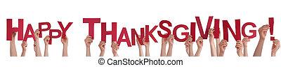 mains, thanksgiving, tenue, heureux