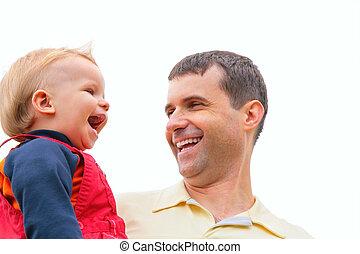 mains, tient, père, rire, enfant