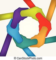 mains, unité, force, gens, logo