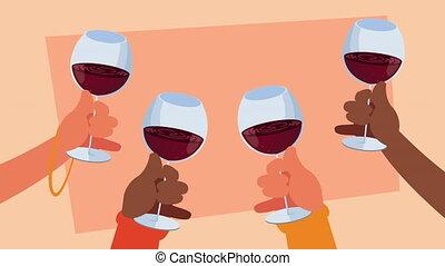 mains, vin, tasses, grillage, humains
