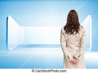 mains, vue, arrière, dos, croisement, derrière, femme ...
