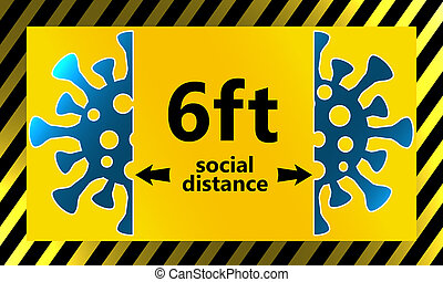 Maintain 6 feet distance for social distance, 3d rendering
