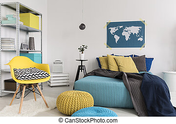 Maintaining the cosy atmosphere - Shot of a modern blue and...