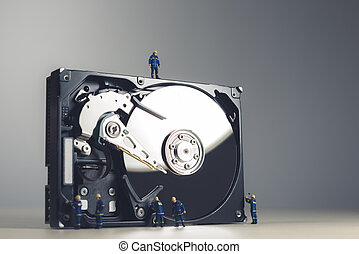 Maintenance and repairing of HDD. Technology concept