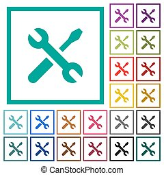 Maintenance flat color icons with quadrant frames on white...