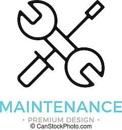 Maintenance icon. Wrench and screwdriver. Vector thin line icon
