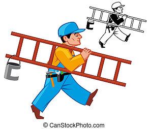 Maintenance man -  Maintenance man walking with ladder