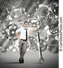 Maintenance of a system of gears - Businessman makes...