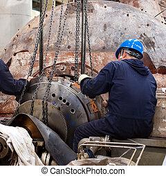 Maintenance of generators - Technicians are maintenance of...