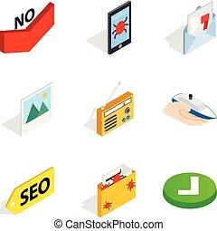Maintenance of security icons set, isometric style -...