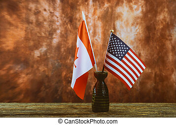 construction tools with copy space for Labor day American and Canadian flag