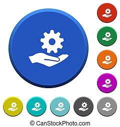 Maintenance service beveled buttons