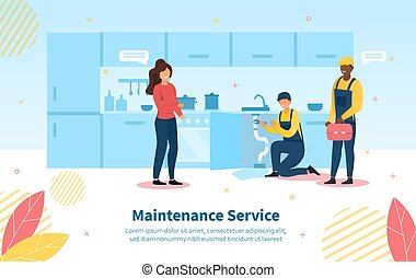 Maintenance Service scene with housewife