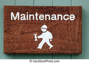 Sign for maintenance showing character man with a spanner symbolizing home improvements, DIY and professional maintenance
