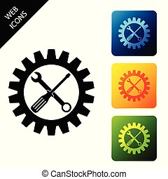 Maintenance symbol - screwdriver, spanner and cogwheel icon isolated on white background. Service tool symbol. Setting icon. Set icons colorful square buttons. Vector Illustration