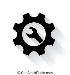 Maintenance symbol - spanner and cogwheel
