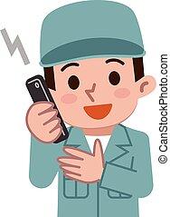 Maintenance worker talking on mobile phone