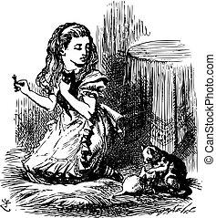 maintenant, laissons, tout, gravure, considérer, quel, rêvé, là, -, il, verre, alice, regarder, chaton, livre, par, trouvé, était, original