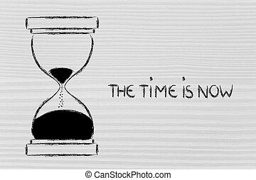 maintenant, sablier, conception, temps
