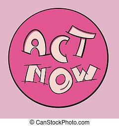 maintenant, vecteur, écusson, changement, acte