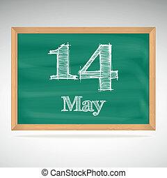 maio, inscrição, 14, giz, quadro-negro
