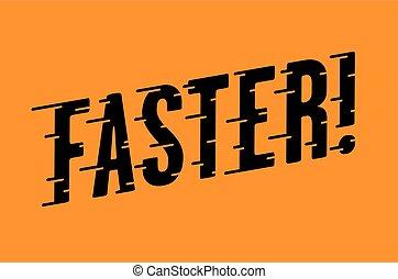mais rápido, retro, tipografia, com, velocidade, linhas
