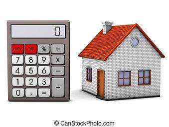 maison, à, calculatrice