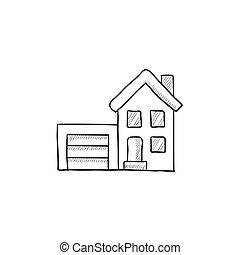 R sidentiel croquis illustration house maison for Modernes haus gezeichnet