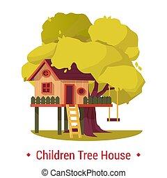 maison, échelle, arbre, bascule, maison, ou, swing., gosse