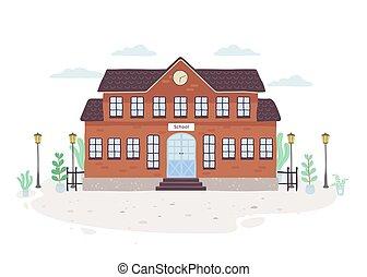 maison, école, education, extérieur, bâtiment.