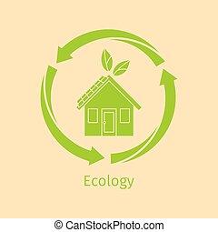 maison, écologie, concept, vert