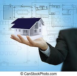 maison, écran, plan, toucher, homme affaires, modèle, présent
