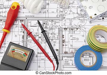 maison, électrique, arrangé, plans, composants