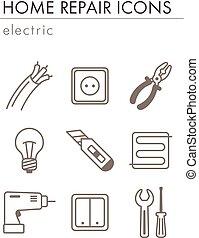 maison, électrique, réparation, icônes