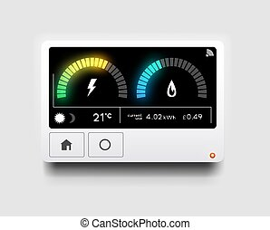 maison, énergie, moderne, intelligent, mètre