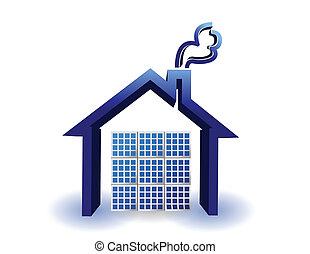 maison, énergie, panneaux, solaire