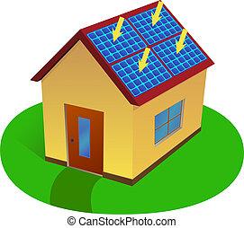 maison, énergie, solaire
