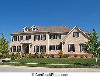 maison, énorme, histoire, brique, deux