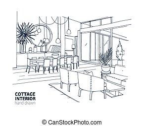 Maison été, dessins, monochrome, contour, furniture ...