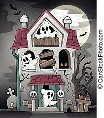 maison, 3, hanté, thème, fantômes