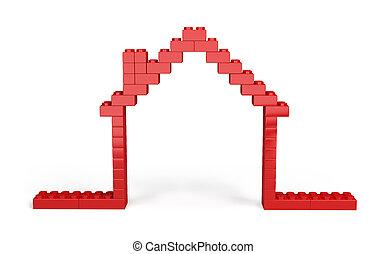 maison, 3d, blocs, plastique