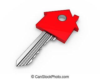maison, 3d, clã©, rouges, maison