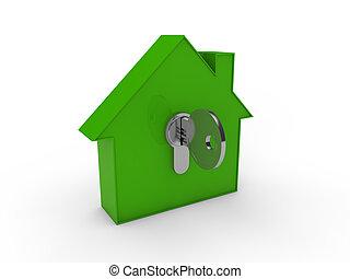 maison, 3d, clã©, vert
