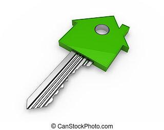 maison, 3d, clef verte, maison