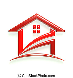 maison, 3d, lustré, rouges, logo