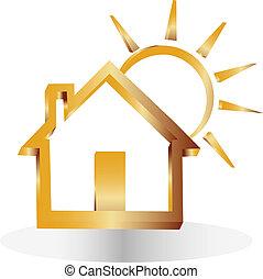 maison, 3d, or, soleil