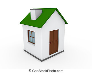 maison, 3d, vert, maison