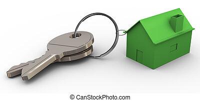 maison, 3d, vert, porte clé